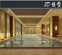 黄色中式风瑜伽馆游泳池模型