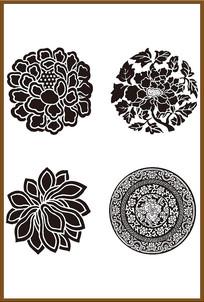 四套中国传统花纹矢量图案