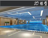 现代风健身房游泳池模型