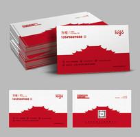 红色古典建筑工程名片