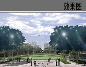 天津某园校园主轴景观效果图
