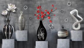 高清黑白蓮花花瓶3D背景墻
