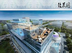 酒店屋顶休闲区效果图 JPG