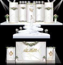 米白大理石纹主题婚礼AI设计