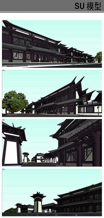 仿古漢代商業街建筑模型
