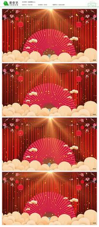 红色中国风戏曲舞台背景视频