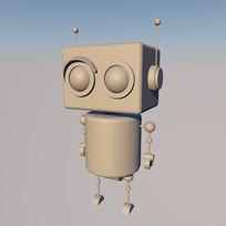 简约机器人c4d建模白膜