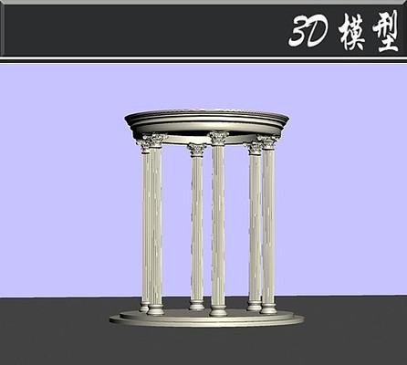罗马柱圆形亭子3D模型