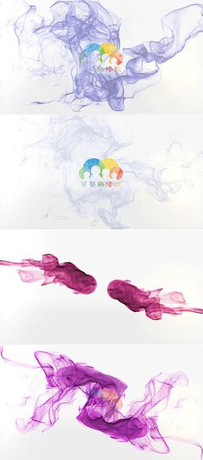 优雅粒子烟雾水墨标志展示模板 aep