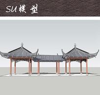 中式廊亭SU