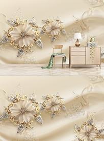 3D金色钻石花朵珠宝背景墙