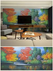 高清油画湖光水色背景壁画