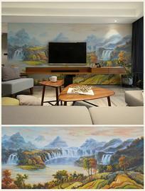 巨幅乡村田园油画背景壁画