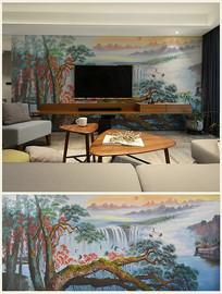 松鹤延年中式风景油画背景壁画