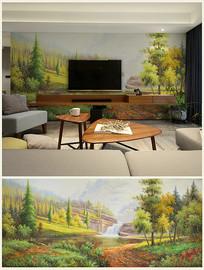 自然美景油画背景壁画