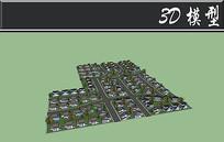 J字形排列小型住宅SU模型