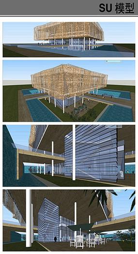 方形景观会所建筑模型