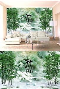 毛竹电视沙发背景墙