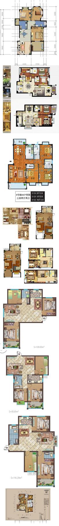 PSD房子彩平效果图素材