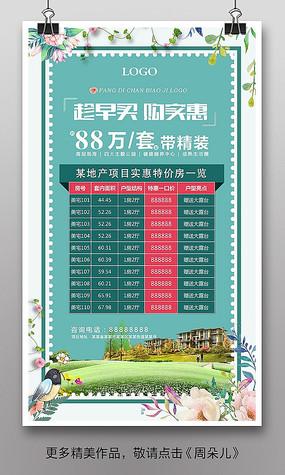 创意清新房地产特价房表格海报
