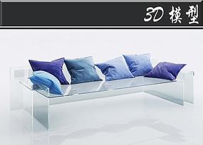 蓝色靠枕3D模型