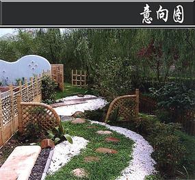 日式石子路花园意向图