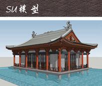 中式宫殿水榭建筑SU