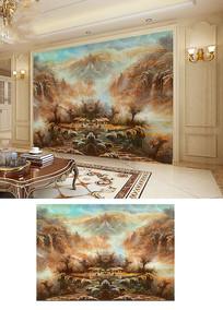 中式游戏梦幻仙境风景背景墙