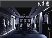 暗黑风服装店3D效果图