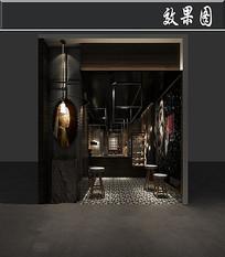 暗黑复古风服装店3D效果图