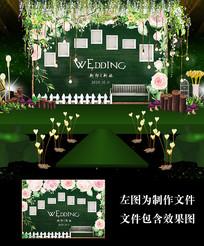 粉色花卉森系婚礼照片墙