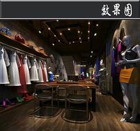 复古服装店3D效果图