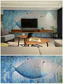 高清油画背景壁画童话梦幻鱼