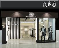 黑色简易服装店3D效果图