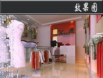 红色服装店3D效果图