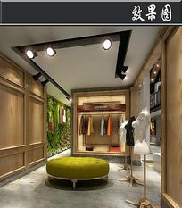 简洁服装店3D效果图