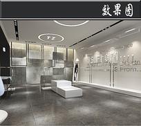 简约白色服装店3D效果图