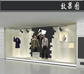 简约男装橱窗3D效果图