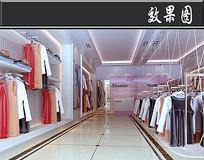 简约现代服装店3D效果图