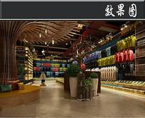 木元素服装店3D效果图
