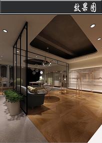 现代简约风服装店3D效果图
