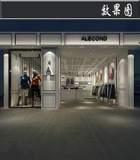 现代条纹服装店效果图