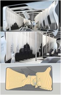 音乐展厅室内草图模型加效果图