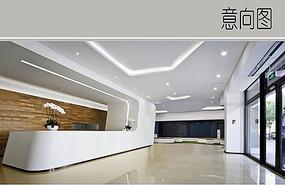 极简公司前台大厅装修设计 JPG