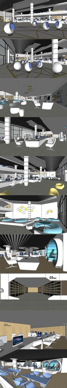 科技馆展厅室内设计SU模型