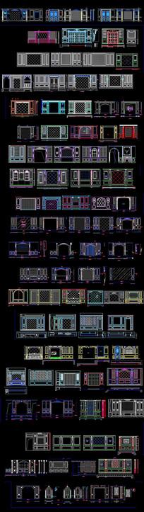 整木背景墙CAD图库