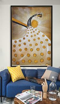 抽象孔雀油画装饰玄关