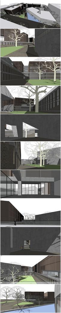 厦门学院草图大师模型CAD