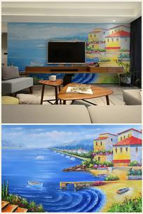 爱情海湾纯手绘油画背景壁画