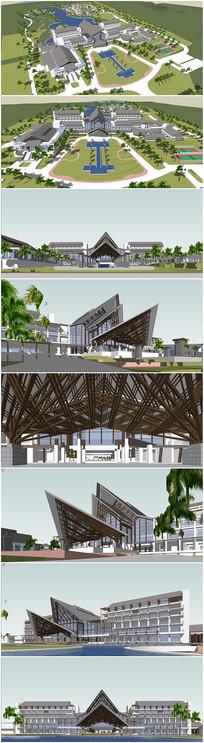 东南亚风格酒店草图大师模型
